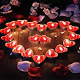 Ailiebhaus 50er herzförmige Kerzen, rauchfreie Teelichter, für Geburtstag, Vorschlag,Hochzeit,Party, Rot, Hochzeit Verlobung, Valentinstag (Rosa) - 6