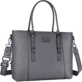 MOSISO Laptop Tote Bag for Women (Up to 15.6 Inch), Water Resistant PU Leather Large Capacity with Padded Compartment Business Work Shoulder Briefcase Handbag Compatible MacBook & Notebook, Gray