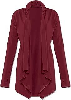 Soul Flower Women's Organic Cotton Cardigan Sweater, Ladies Drape Open Front Long Sleeve Irregular Hem Top