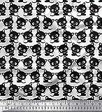 Soimoi Weiß Baumwolle Ente Stoff Katze Karikatur Stoff