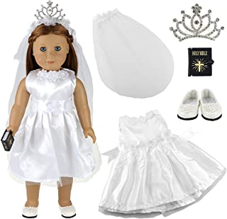 BARWA White Wedding Dress with Veil and Crown Plus Shoes and Bible for 18 Inch Dolls