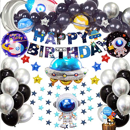 Finypa Outer Space Birthday Party Decorations Rocket Balloons Solar System Happy Birthday Banner Metallic Silver Balloons Garland With Astronaut Cake Topper