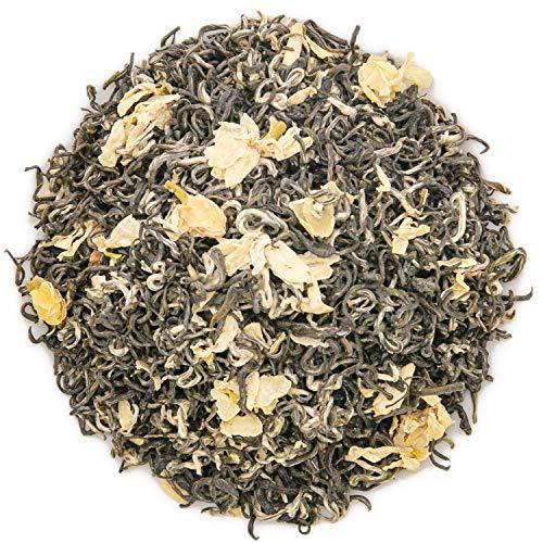 Oriarm 225g / 8oz Bi Tan Piao Xue Jasmine Green Tea Loose Leaf - Chinese Mao Feng Green Tea with Jasmine Flowers - Yuqian 1st Grade - Brew Hot or Iced Tea