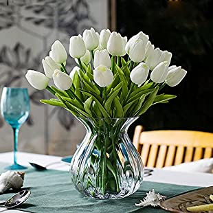 Turelifes Artificial Tulips Single Stem Real Touch PU Tulips Flora Arrangement Bouquet Home Decor 10pcs (wihte):Kumagai-yutaka