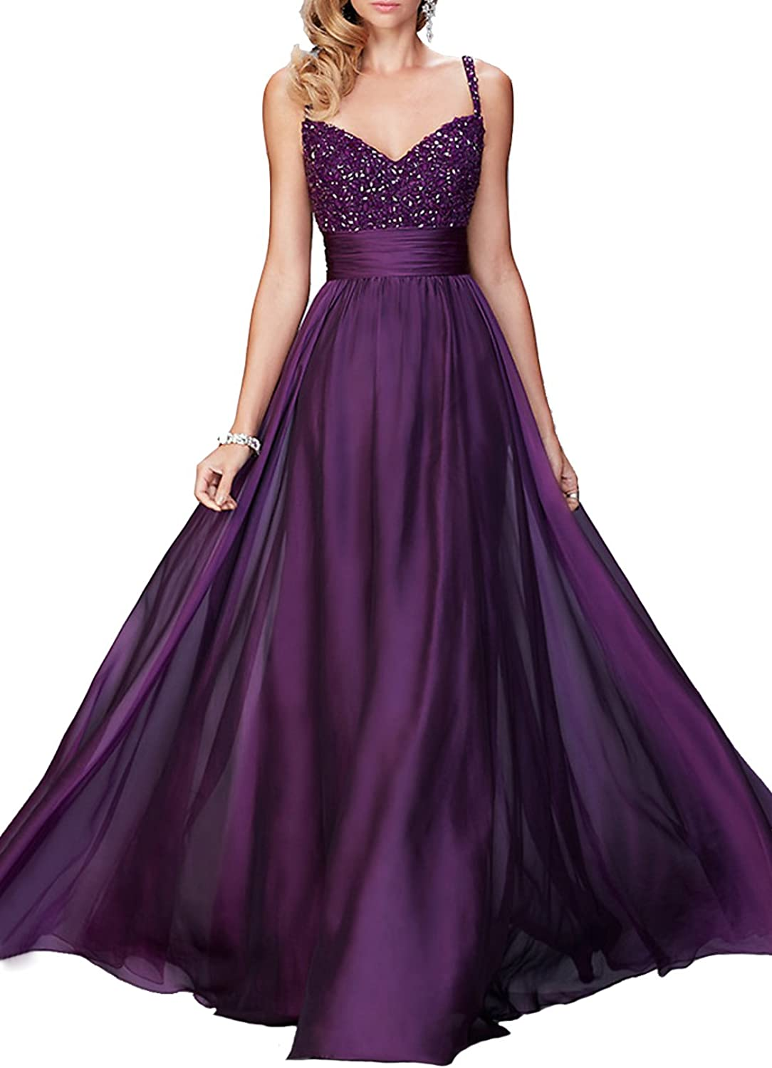 GMAR Womens Beaded Bodice Party Gowns Sweetheart V Back A Line Evening Dresses