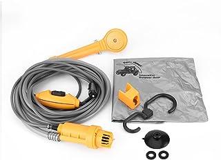 Qiilu 12V Bomba de agua Portátil Kit de lavado de ducha de coche eléctrico para Al aire libre Caravana Cámping Viajar