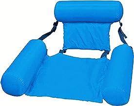 SUNTIRC Inflable Agua Sofá Sillón reclinable Flotante Hamaca Ajustable Cama Silla Natación Piscina Salón Plegable Respaldo Flotante Fila Broncearse Balsa Verano Playa Flotador Estera Adultos (Azul)