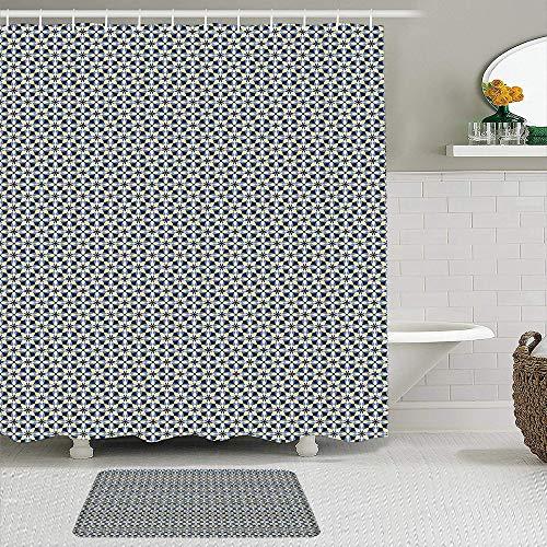 Juego de cortinas de ducha de 2 piezas con alfombra de baño antideslizante,Azulejos de adorno simétrico de formas superpuestas en tonos azules y amarillo,12 ganchos,Decoración de baño personalizada