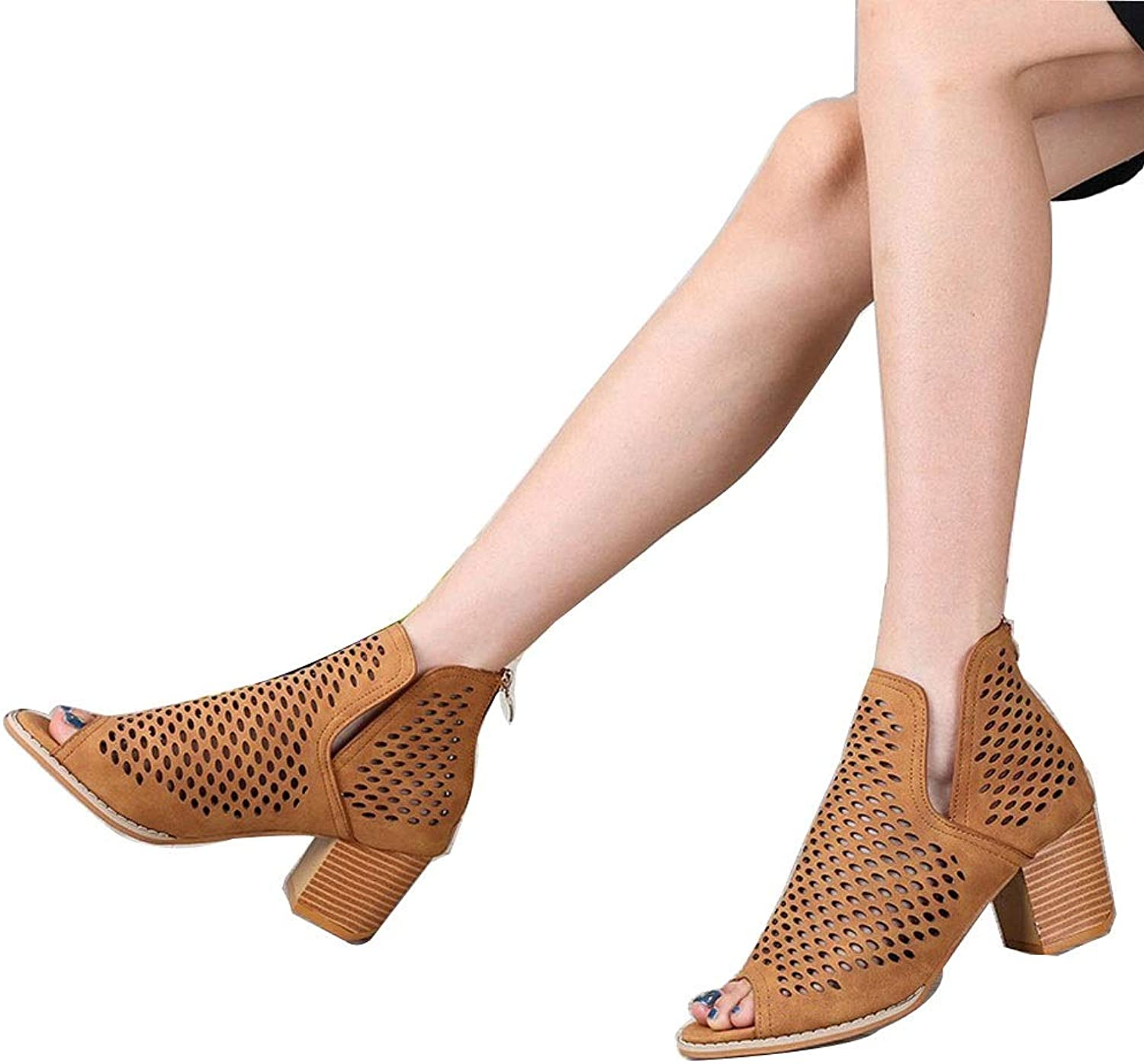 Women's High-Heeled Sandals Fish Mouth Mesh Thick with High Heels Fashion Hollow Roman Women's Sandals (color   Yellow, Size   36)