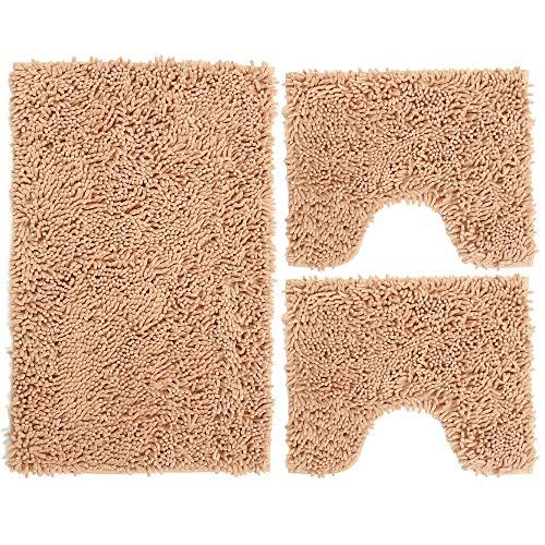 Set Tappeti Bagno 3 Pezzi in Microfibra, Tappeto Pelo Lungo 50x80 cm, 2 Tappetini per WC e Water Forma Rettangolare 40X50 cm, Morbido, Antiscivolo, Khaki