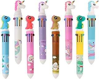 Shuttle Pens Ballpoint Pen Retractable Gel Pen 10-in-1 Shuttle Pens Leaflai 8 Multicolor Dinosaur Unicorn 0.5mm Liquid Ink Pens for Office School Supplies Students Children Gift (8PCS-A)