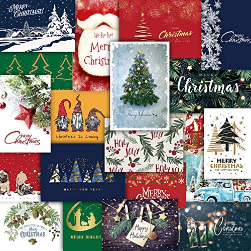 Whaline Lot de 40 cartes de vœux de Noël assorties avec enveloppes et points de colle - 10,2 x 15,2 cm