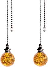 2PCS Amber Pull Chain Crystal Glass Ice Cracked Ball Pull Chain for Ceiling Fan Light Decoration 50cm Extension Chain