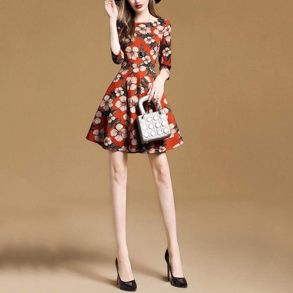 Dongjiguang Dress, Dress Print Seven-Sleeve A-Line Skirt 2 Colors 5 Sizes (Color : B, Size : S)