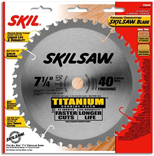 ✅SKIL 75940 Titanium 7-1/4-Inch 40 Tooth ATB Thin Kerf Crosscutting Saw Blade with 5/8-Inch and Diamond Knockout Arbor #Woodworking Shop