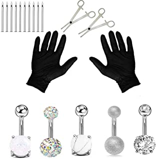 Jconly Professional Piercing Kit Silver Multicolor Steel 14G CZ Belly Navel Ring Body Piercing Set … …