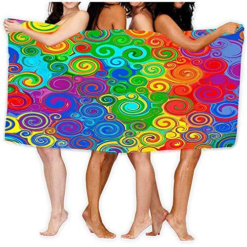 Yocmre Badhanddoek Soft Big Beach handdoek Uniek patroon ontwerp abstract regenboog gebogen strepen kleur lijn kunst swi