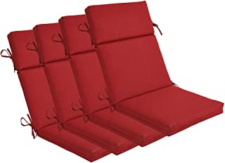 Bossima Indoor/Outdoor Rust Red High Back Chair Cushion, Set of 4,Spring/Summer Seasonal Replacement Cushions.
