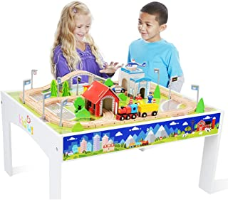 brio wooden train set and table
