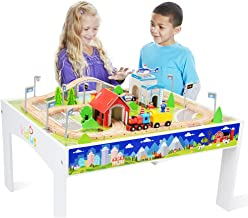 ZONXIE Wooden Train Track Set with Table for Kids Toddlers Creative Play Train Set and Table (80 pcs)