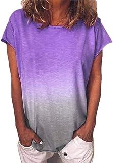 Yeirui Women Casual Short Sleeve Round Neck Gradient T-Shirt Tops Blouse