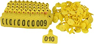 BQLZR Yellow 1-100 Numbers Plastic Large Livestock Ear Tag for Cow Cattle Pack of 100