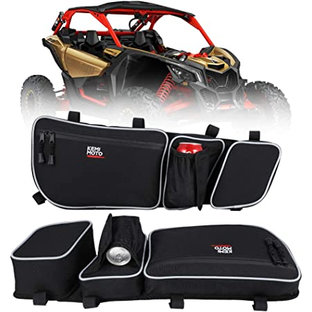 Kemimoto X3 Door Bags, Front Upper Door Mount Storage Bag with Cup Holder/Removable Knee Pads compatible with Can Am XRS XDS Turbo RR Driver N Passenger Side Gear Bag