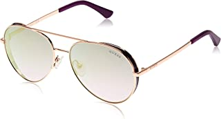 Guess 19307211 Oval Sunglasses GU760728X58 Shiny Rose Gold/Blu Mirror for Women