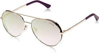 Guess 19307211 Oval Sunglasses GU760728X58 Shiny Rose Gold/Blu Mirror for Women