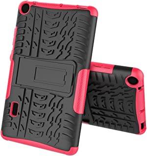 Boleyi Case for Huawei MediaPad T3 7.0, [Heavy Duty] [ Slim Hard Case] [ Shockproof] Rugged Tough Dual Layer Armor Case With stand function -Pink
