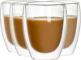 4 X 350 ML, Double Paroi Verre à Café, Tasses en Verre Borosilicate, pour Thé, Café, Lattes, Cappuccino, Espresso, Bière
