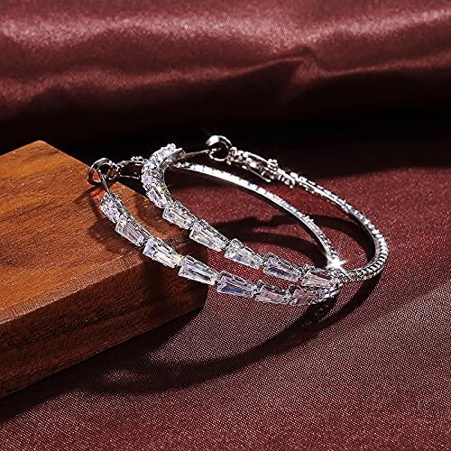 KSSPNL Pendientes De Aro De Diamantes Completos para Mujer Pendientes De Aro De Diamantes De Imitación De Cristal con Incrustaciones Completas De Circonita con Incrustaciones De Diamantes