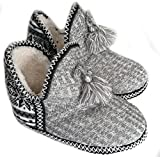Women's Indoor Slipper Boots Ladies Girls Winter Warm Cotton Cable Knit Plush Fleece Lined Ankle High Snow Booties Lounge House Relaxed Slip on Non-Slip Shoes
