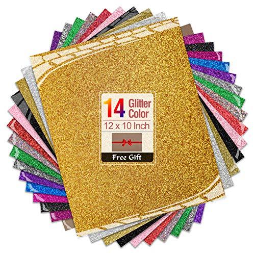Transwonder Glitter Heat Transfer Vinyl Sheets, 14 Color Asssorted Pre-Cut 12x10in. Bundle, Bonus Teflon for Heat Press Machine or Home Iron for DIY Shirts