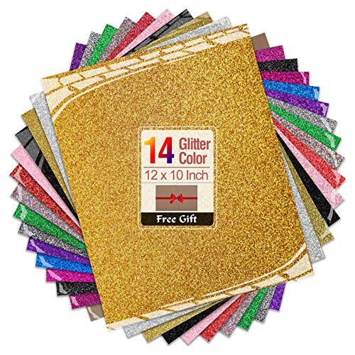Transwonder Glitter Heat Transfer Vinyl Sheets, 14 Color Asssorted Pre-Cut 12x10in. Bundle, Bonus Teflon for Heat Press Machine or Home Iron for DIY Shirts