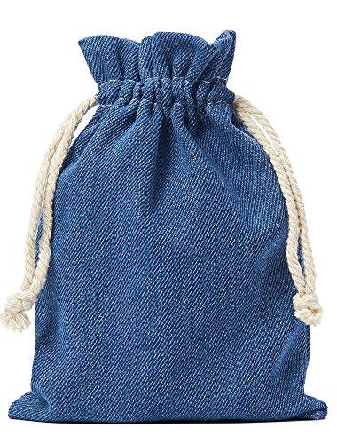 10 bolsas de tela de vaquero, bolsitas de algodón en celeste, tamaño 15 x 10 cm con cordón blanco para cerrar, 100% algodón, tela denim, bolsa de regalo (azul)