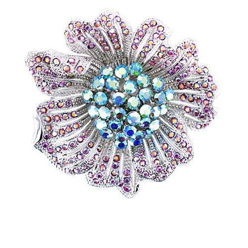 Rosa y azul y cristales con broche de plata