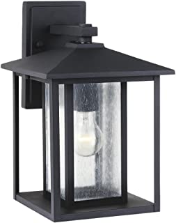 Sea Gull Lighting 88027-12 Hunnington One-Light Outdoor Wall Lantern with Clear Seeded Glass Panels, Black Finish