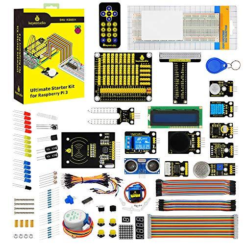 KEYESTUDIO Raspberry Pi Starter Kit mit C Sprache Tutorial für Raspberry Pi 4 B 3 B+, GPIO-PCF8591 Shield, Pi GPIO Breadkout Board, 1602 LCD Display, PIR-Bewegungssensor, RC522 RFID, Breadboard