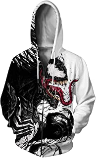 Leezeshaw Unisex Men's 3D Spider Man Print Zip Up Jumpers Hoodies Superhero Patterned Sweatshirts Jacket with Pockets S-5XL