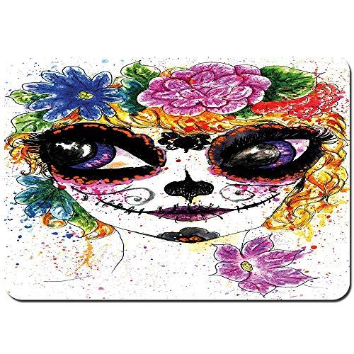 Dfform Antideslizante Alfombra De Baño,Celebración Cultural Mexicana Tradicional Hacer Carita de Niña en Acuarelas Arte,Alfombra de Cocina Alfombra Mascota,Alfombras de Ducha 75x45cm