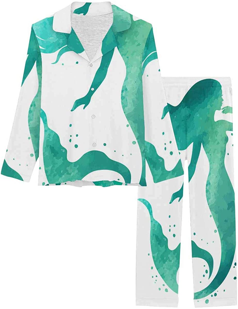 InterestPrint Long Sleeve Button Down Nightwear with Long Pants Hand Painted Mermaid