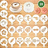 Konsait 20Pack Summer Cake Stencil Templates Decoration, Reusable Birthday Cake Cookies Baking Painting Mold Tools, Dessert , Coffee Decorating Molds