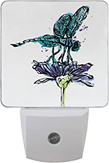 Naanle Set of 2 Blue Dragonfly On Purple Flower Auto Sensor LED Dusk to Dawn Night Light Plug in Indoor for Adults