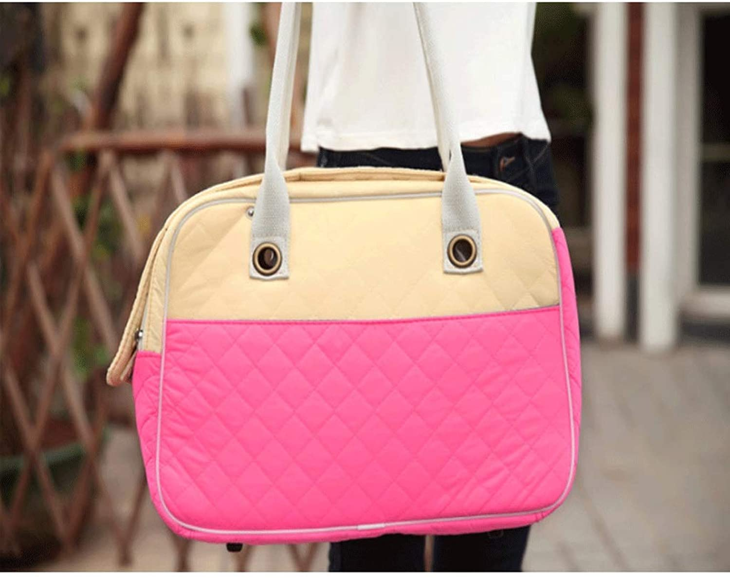 HAOCAI Pet Bag Thick And Convenient Breathable Handbag Outdoor Travel Mall Hand Bag Breathable Ushaped Top (color   PINK, Size   45x18x30cm)