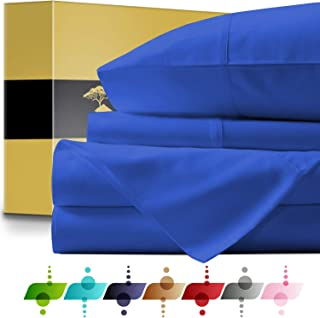 URBANHUT Egyptian Cotton Sheets Set - 1000 Thread Count 100% Cotton Bed Sheets Queen (4 Piece), Luxury Queen Size Sheets, Deep Pocket, Soft & Silky Sateen Weave (Royal Blue)
