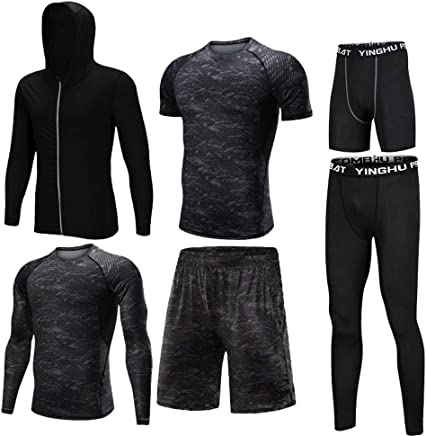 Basic compression settings for men Men's 6 Pcs Base Layer Compression Set With Outwear,Compression Long Sleeve Shirt,Compression Tight Pants,Compression Short Sleeve TShirt,Loose Shorts,Compression T