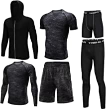 Trainingskleidung für Herren Compression Tight Pants, Compression Kurzarm T-Shirt Lose Shorts Compression Enge Shorts Herren 6-tlg für Radfahren Laufen Gym Fitness ( Color : Black gray , Size : S )