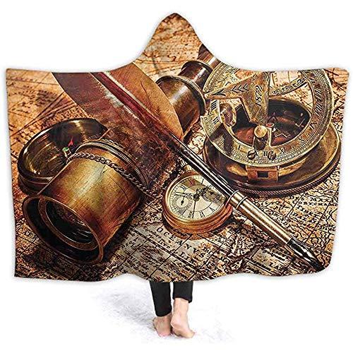 Henry Anthony 60X50 Zoll Wele Decke mit Kapuze, Kompass Gans Feder Spyglass und eine Taschenuhr auf einem Alten 3D Indoor Outdoor Thicked Blanke liegend