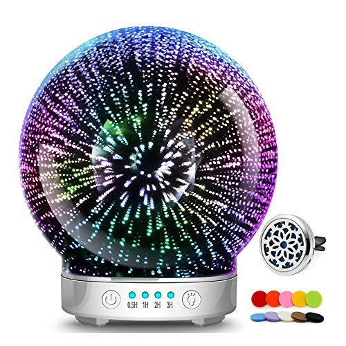 3D Glass Aromatherapy Essential Oil Diffuser – Newest Version fragrance oil Humidifier, 7 LED Color lighting modes firework theme, Premium Ultrasonic mist, Auto-Off Safety Switch (Silver base)